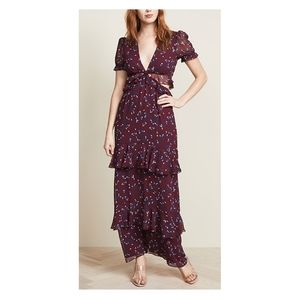 Wayf Lavina Maxi Dress In Wine Floral